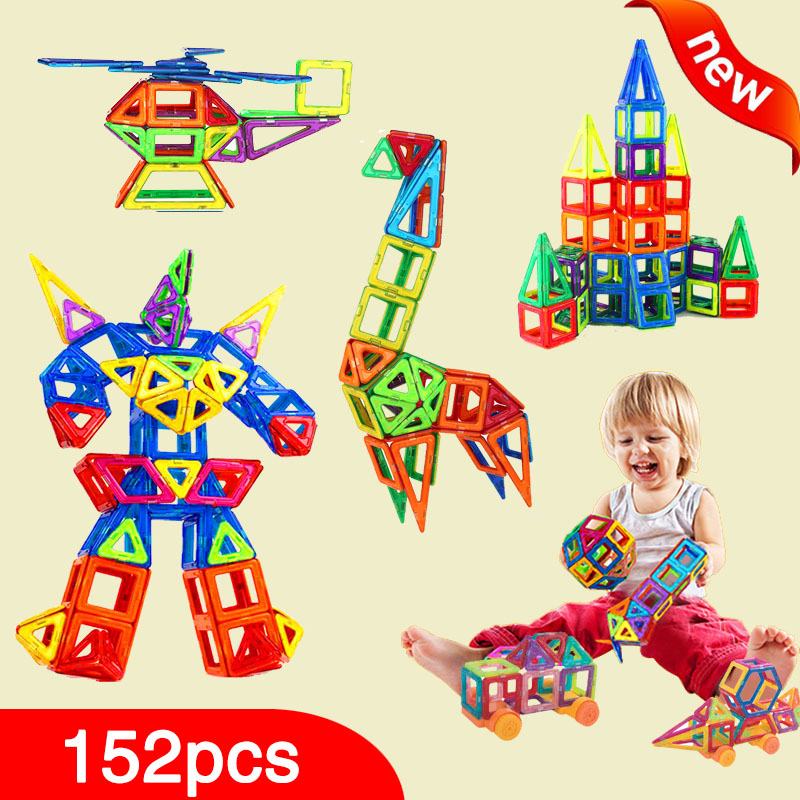 New 152pcs Mini Magnetic Designer Construction Set Model & Building Toy Plastic Magnetic Blocks Educational Toys For Kids Gift qwz new 110pcs mini magnetic designer construction set model