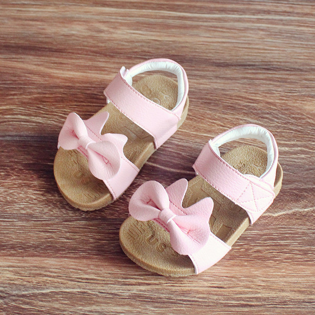 17154d12408a3c Kids sandals Genuine leather 2017 summer girls sandals bow princess shoes  slip-resistant outsole baby sandals 1 - 3 years old