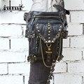 Aequeen vintage gothic steampunk skull rock bolsa de mujeres de los hombres bolso de la cintura bolso caja del teléfono titular de la bolsa de mensajero femenino