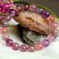 Wholesale Natural Genuine Multi Colors Mix Super Seven 7 Finish Stretch Bracelet Round Beads Melody Stone 9.5mm 04004