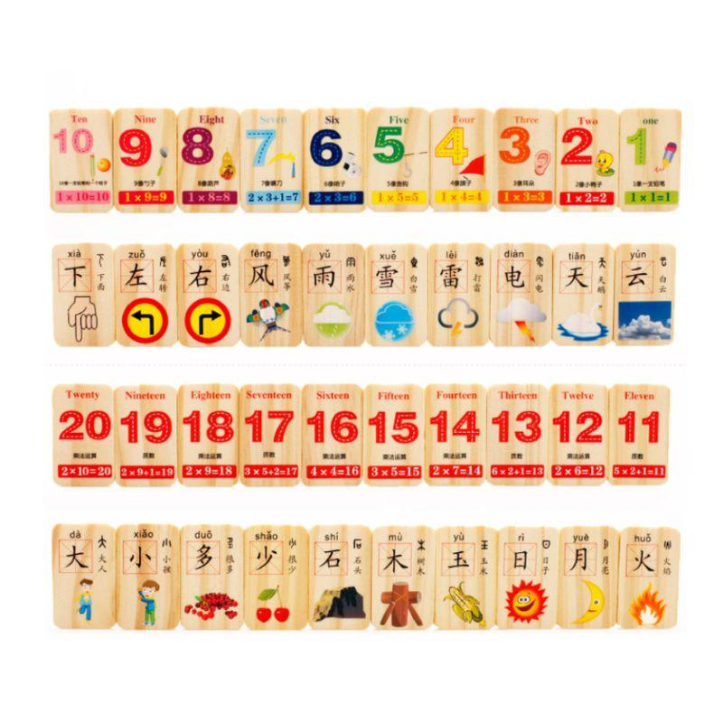 1 Satz Holz Domino Spiel Spielen Spielzeug Chinesischen Charakter Zahlen Montessori Pädagogisches Baby Spielzeug
