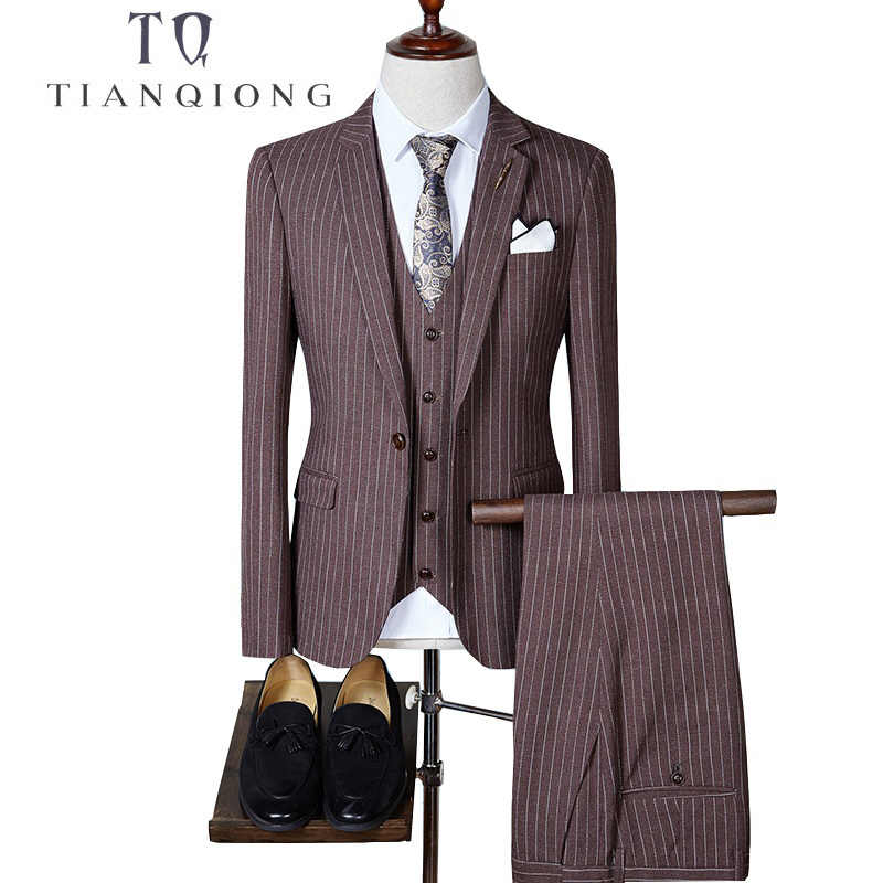 TIAN QIONG 2018 High Quality Men Suits Fashion Stripe Men's Slim Fit Business Wedding Suit Men Wedding Suit(Blazers +Vest+Pants)