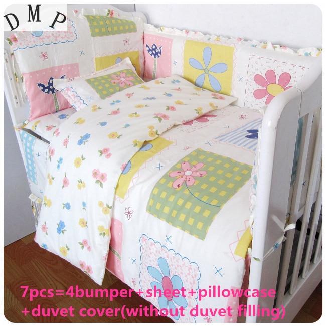 Promotion! 6/7PCS 100% Cotton Baby Cot Bedding Set bed linen Product Infant Cartoon Quilt Cover,120*60/120*70cm