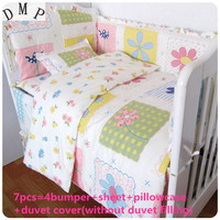 Promotion! 6/7PCS 100% Cotton Baby Cot Bedding Set bed linen Product Infant Cartoon Quilt Cover,120*60/120*70cm
