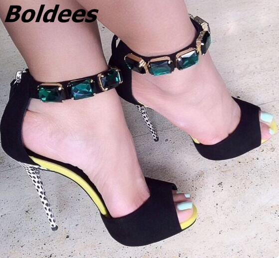 Boldees Trendy Ankle Wrap Green Lewel Sandals Open-toe Sexy Stiletto Heel Shoes Fashion High Heel Sandals for Women Plus Size meotina shoes women sandals summer sexy stiletto high heel sandals open toe ankle strap party pumps lady shoes purple size 34 43