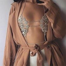 Chaîne de poitrine brillante, strass, cristal, Sexy, paillettes, soutien gorge en chaîne pour femmes, bijoux en argent et or