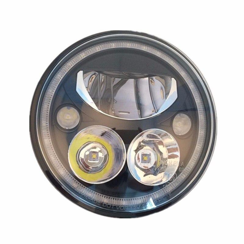 Noir Chrome 5.75 HID LED Phare Haut/Bas Faisceau 5 3/4 Front Voiture Head Light Projecteur DRL Pour Harley Daymarker Projecteur