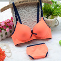 Japanese cotton bra set fluorescent color comfortable girls underwear candy color bra sets for women
