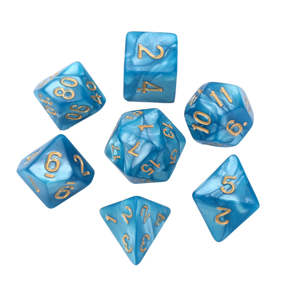 Funny Dices 7pcs/set Blue Polyhedral Dice 16mm for Dungeons and Dragons Dice RPG Table Board Games Multi-side Dices