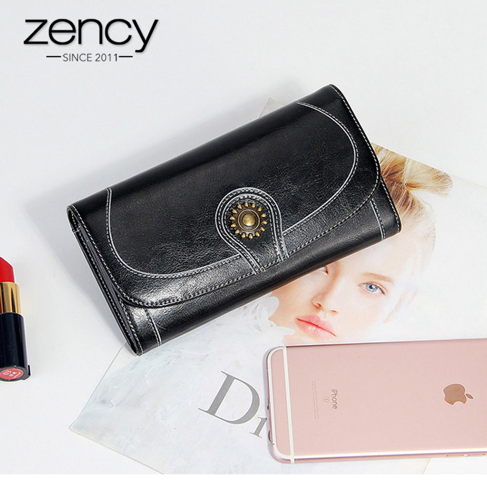 2018 New Charm Women Wallet 100% Genuine Leather Vintage Long Purse Lady More Card Holders Large Capacity billetera larga mujer 5 pcs lot cartoon anime wallet wholesale nintendo game pocket monster charizard pikachu wallet poke wallet pokemon go billetera