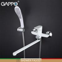 GAPPO สีขาวอ่างอาบน้ำก๊อกน้ำหัวฝักบัว Bath tub ก๊อกน้ำ Chrome bath น้ำผสม wall mount rain shower ก๊อกน้ำ shower mixer tap