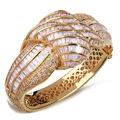 60mm diameter Beautiful charming Bangles gold plated with white cz luxury Bangle New design fashion Jewelry Free shipping