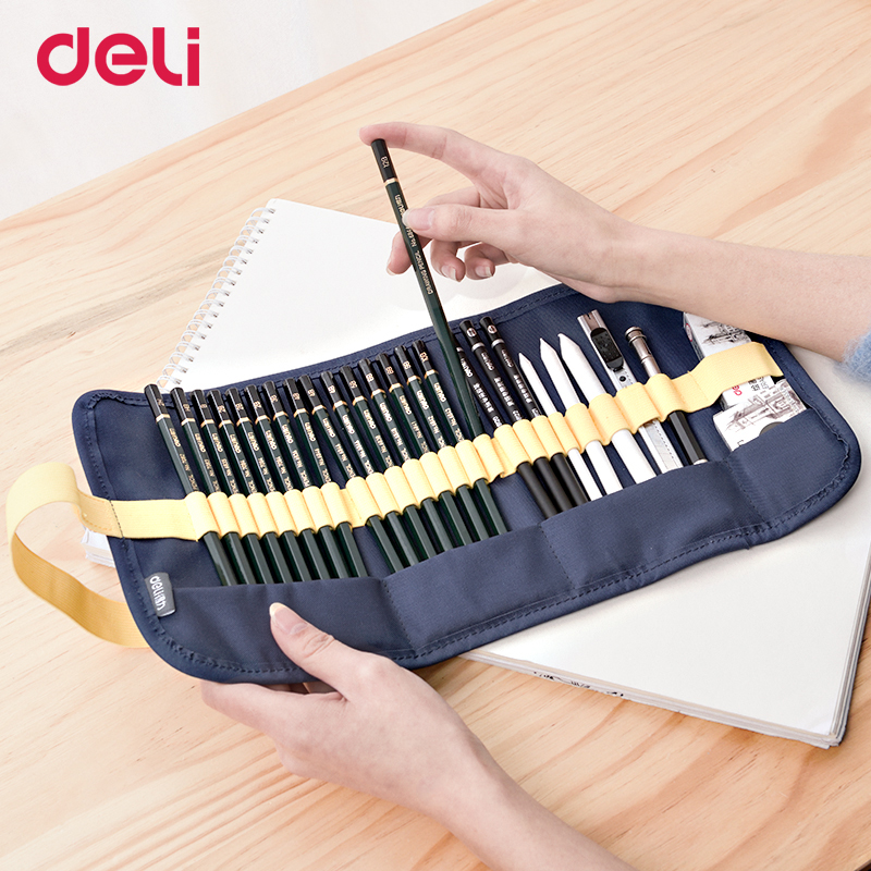 Deli 27pcs/pack professional sketch set for school art supply paper eraser charcoal pencil extender canvas bag kids drawing gift charcoal nose pack black 10 pcs