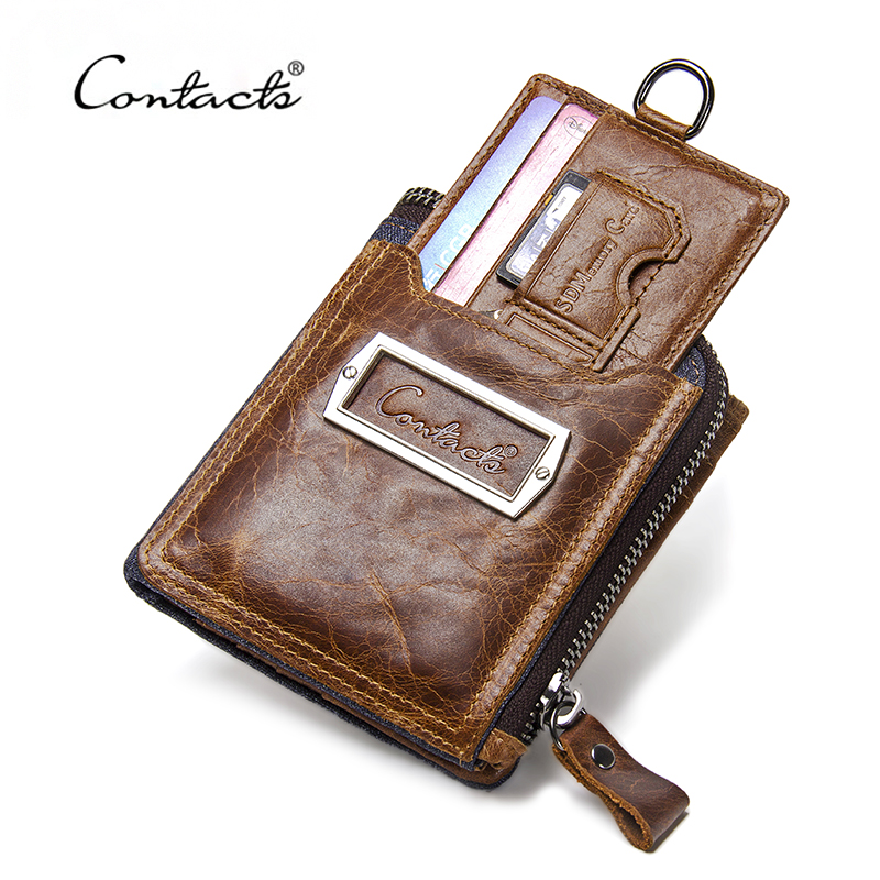 CONTACT'S Genuine Leather Vintage Men Wallets Coin Purse Card Holder Small Wallet Portomonee Male Clutch Zipper Clamp For Money men wallet male cowhide genuine leather purse money clutch card holder coin short crazy horse photo fashion 2017 male wallets