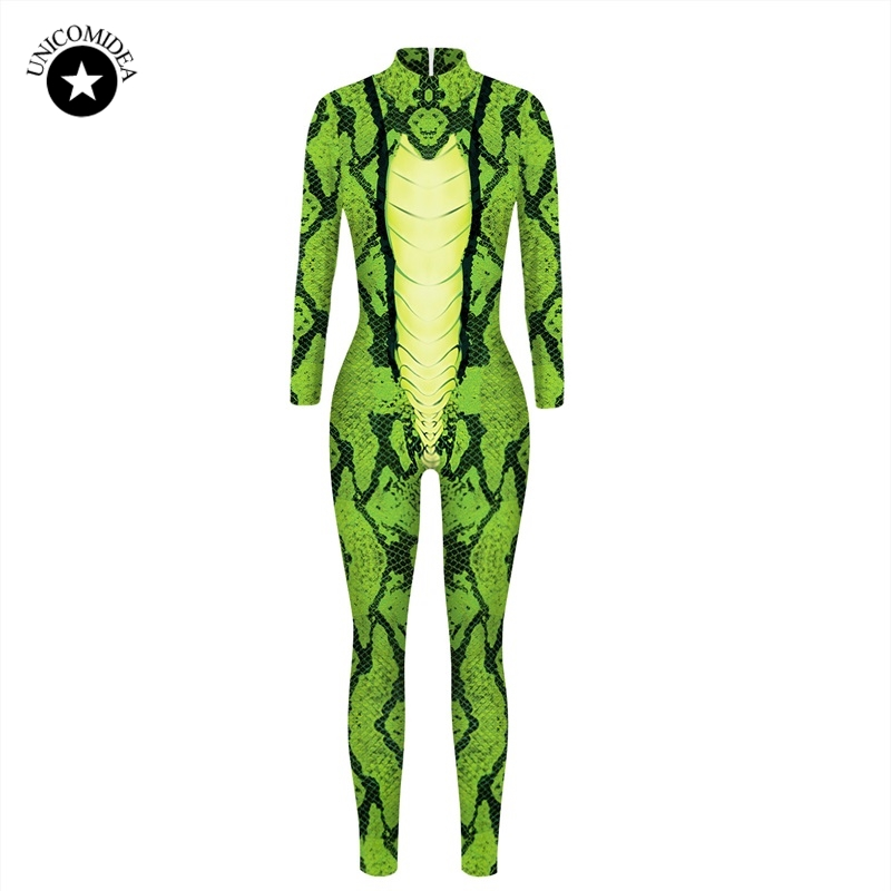 Green Snake Skin 3D Jumpsuit Party Halloween Nigthclub Costume Bodysuit Long Sleeve Outfit Women