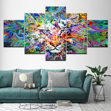 Abstract Tiger white eyes 5 Piece Wallpapers Art Canvas Print modern Poster Modular art painting for Living Room Home Decor цены