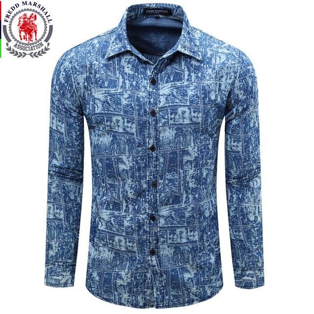 21a1cfbc6e4 Europe Size Men s Denim Shirt New Dress Shirts Male Shirt Long Sleeve Mens  Jean Shirt Classic Fashion Casual Shirt Plus Tops 081