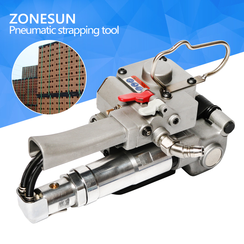 ZONESUN NEW PNEUMATIC PET/PLASTIC/PP STRAPPING TOOL XQD-19PET STRAPPING MACHINE FOR 12-19MM(TENSION>=3000N) цена