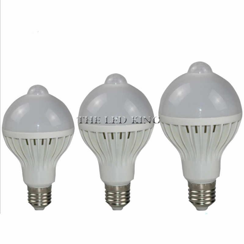 LED PIR Motion חיישן מנורת 5w 220v Led הנורה 7w 9w 12w 15W קול + אור אוטומטי חכם חיישן בקרת Led אור