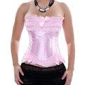 Rosa corsé overbust plus size lace corset top para las mujeres de la talladora gothic satén ata para arriba el corsé rojo y bustier nupcial balck s-6xl