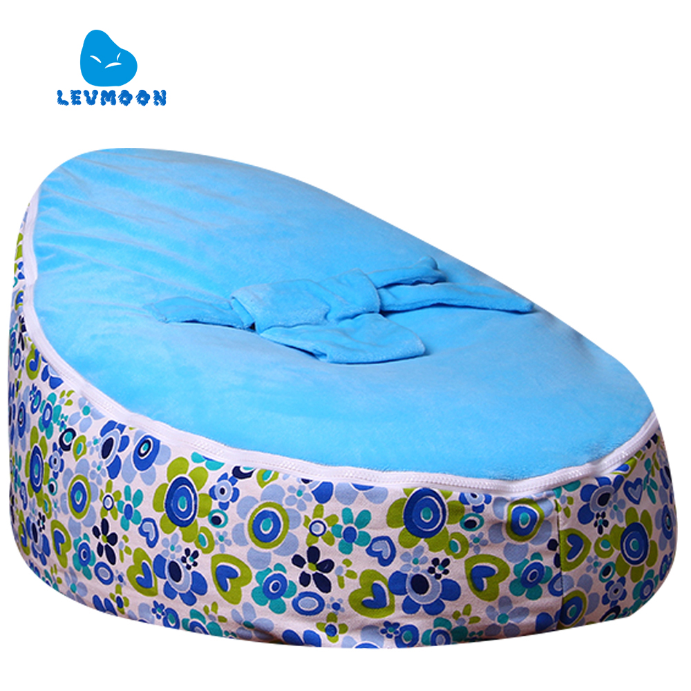 цена на Levmoon Medium Small Orchid Bean Bag Chair Kids Bed For Sleeping Portable Folding Child Seat Sofa Zac Without The Filler