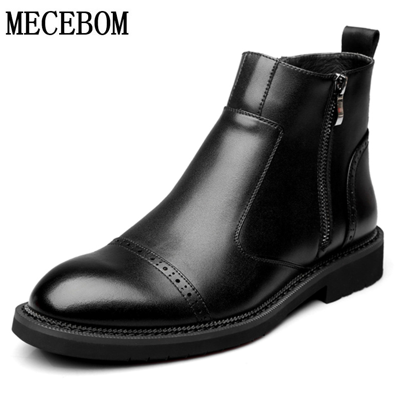 New Autumn Men's Genuine Leather Shoes Black Chelsea Ankle Boots for Male Men Casual Shoes Botas zapatos hombre size 38-44 8016m men s leather shoes new arrival lace up breathable vintage style casual shoes for male footwears zapatos size 38 44 8151m