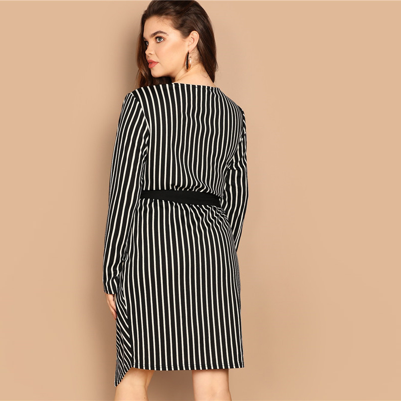 SHEIN Black and White Plus Size Deep V Neck Striped Dress Asymmetrical Hem Women Workwear Going Out Elegant Dresses 8