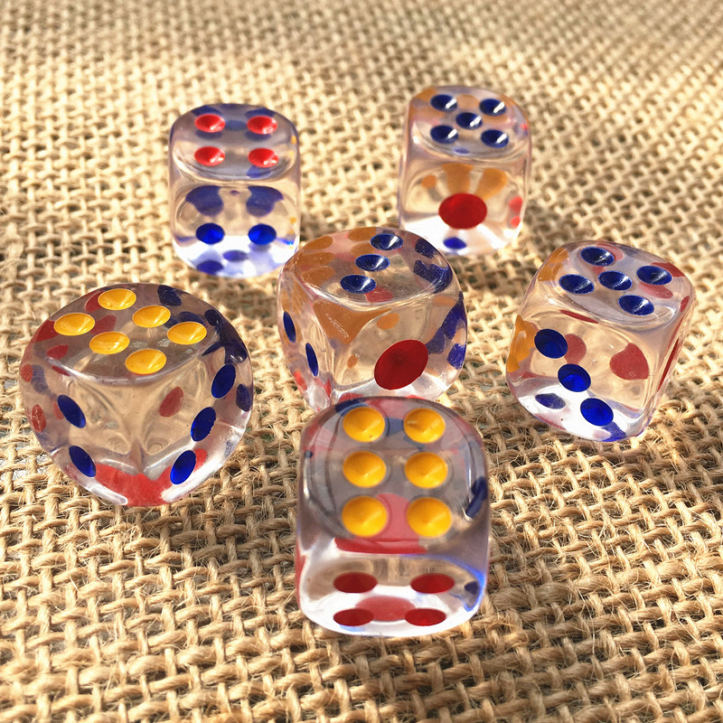 wholesales 12mm 2PPCS/set acrylic transaprent d6 dice,6 sided gambling small dice for sale