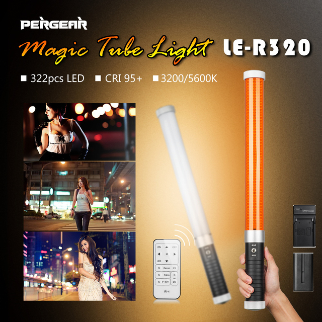 Update with Battery & Remote Pergear 322Pcs Led Vedio Tube Light Dimmable Bi-color 3200K/5600K CRI 95 Photo Light ICE LED Light