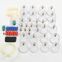 Newest 32Pcs Cans Cups Chinese Vacuum Cupping Kit Pull Out A Vacuum Apparatus Therapy Relax Massagers Curve Suction Pumps