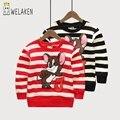 Welaken caçoa a camisola & hoodies para meninos meninas rato dos desenhos animados padrão listrado encabeça clothing primavera das crianças camisola de algodão