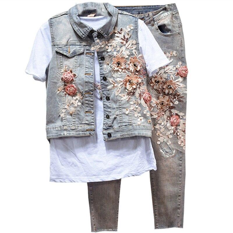 Kwiat kowbojskie kamizelka + spodnie rozciągliwe 2018 garnitury casualowe kobiet Denim kurtka + spodnie jeansowe zestaw kobiet dwuczęściowy dżinsy zestaw dla kobiet w Zestawy damskie od Odzież damska na  Grupa 1