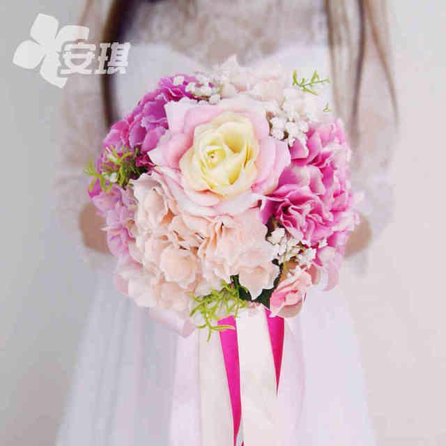 Rosa Azul Púrpura Tema de la Playa Wdding Ramo Ramo de Flores Artificiales de Mariage Barato Flor de Seda de Simulación Hortensia Ramos