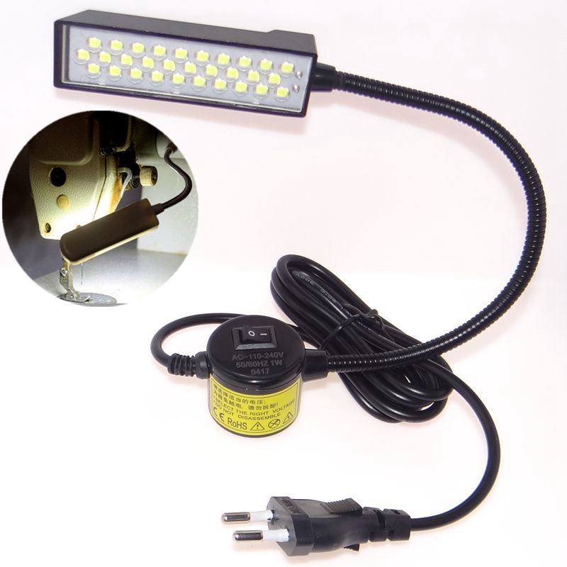 Accesorios para máquinas de coser piezas de herramientas bombillas LED de ahorro de energía lámparas de luz mesa de trabajo lámpara de escritorio cuello de cisne base de montaje magnético