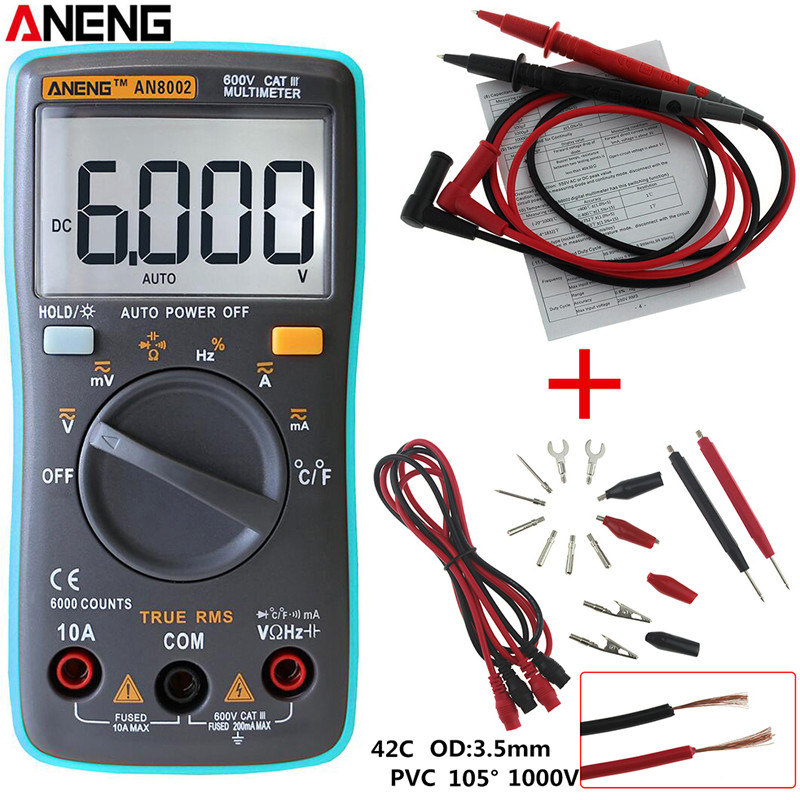 ANENG AN8002 LCD Digital Multimeter 6000 Counts Backlight AC/DC Ammeter Voltmeter Ohm Portable Meter + Test Lead Set все цены