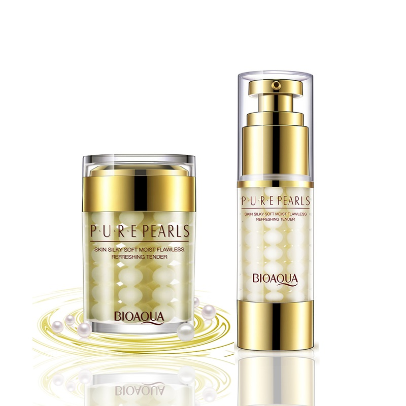 2Pcs/Lot  Pure Pearl Face Cream+Essence Hyaluronic Acid Deep Moisturizing Skin Care Anti Wrinkle Whitening Facial Set