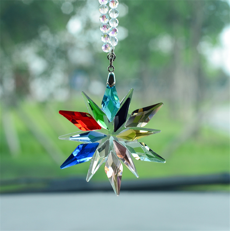 Car Mirror Charms Interior Accessories With The Cars Furnishing Colorful Crystals Car Pendant Transparent Crystal Christmas