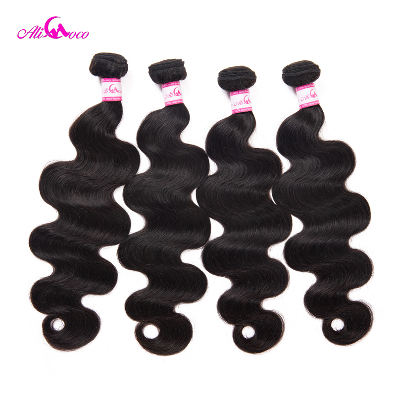 Ali Coco Human Hair 3 Bundles Deal Brasilian Body Wave 8-28 inch Hair - Menneskehår (sort)