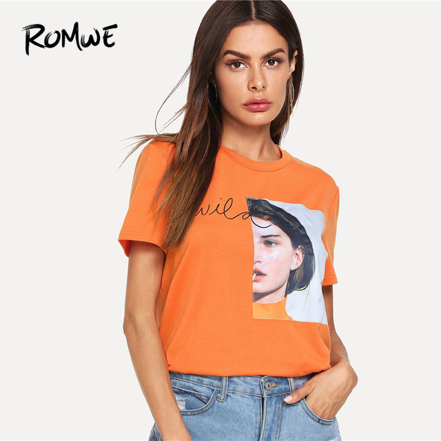 b280efc4f ROMWE Girl Patch Letter Print Tee 2019 Casual Graphic Tees Aesthetic Women  Summer Korean Round Neck