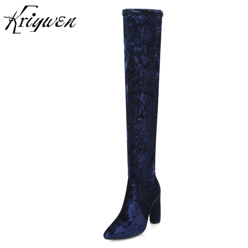 Kriywen Velvet Women Over The Knee Boots Pointed Toe Sexy Ladies High Heels Brand Fashion Thigh Woman Long Shoes Zapatos Mujer