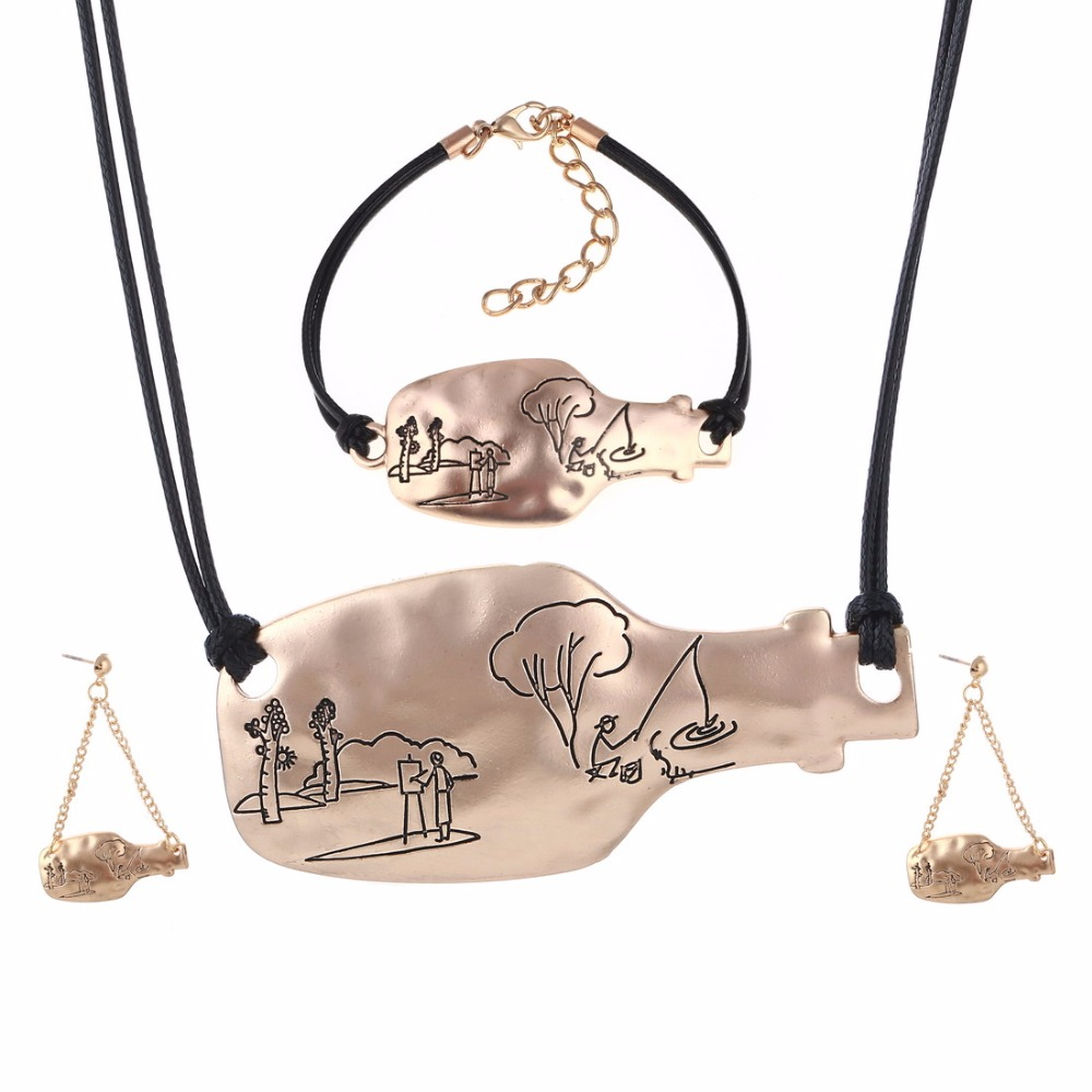 Fashion Bridal Wedding Necklace Sets Elegant Alloy Gold Silver Plated Bottle Design Pendant Jewelry Set Charm Wholesale Sets