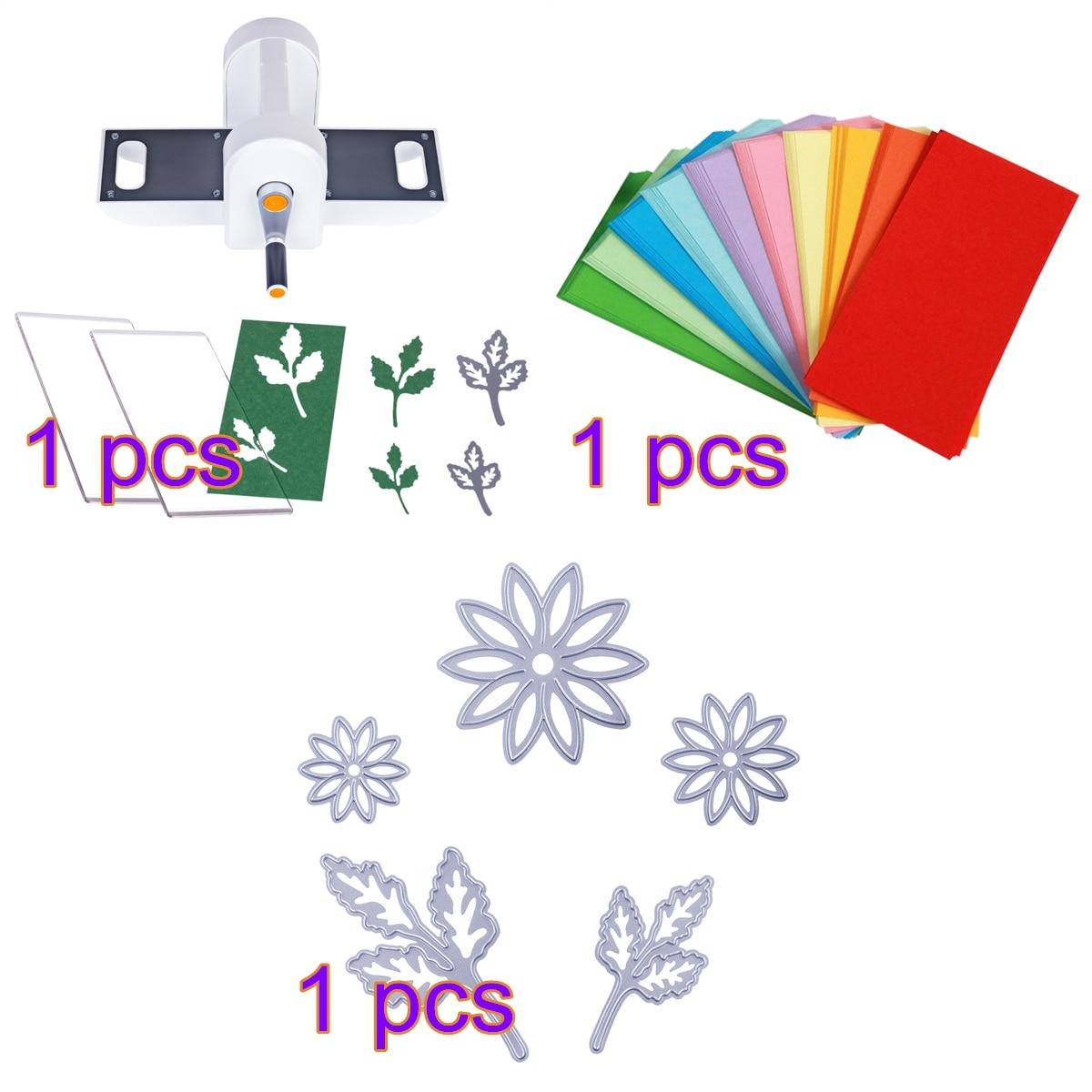 Bricolage découpe gaufrage Machine Scrabooking Alubm carte Cutter outil + 5 pièces bricolage coupe moule + 200 feuilles pliage papier