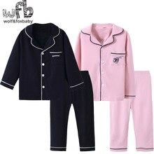Lẻ 4 14 năm dài tay áo bông trẻ em của home mang nightdress chàng trai cô gái pajama lập mùa thu mùa thu phong cách cổ điển