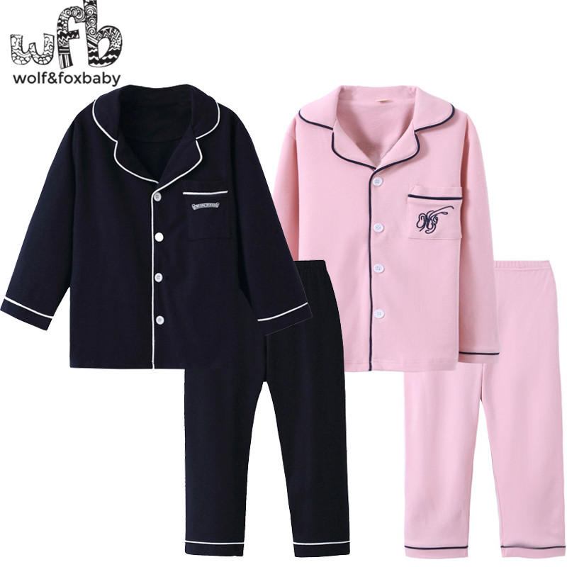 Retail 4-14 Years Long-sleeves Cotton Children's Home Wear Nightdress Boys Girls Pajama Sets Autumn Fall Classic Style