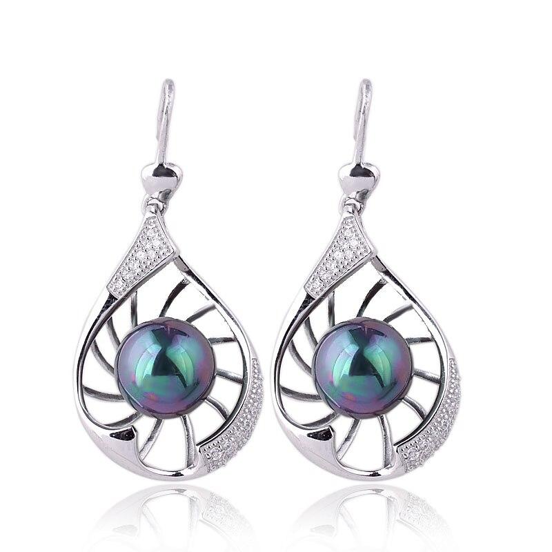 Boucles d'oreilles femmes Dangle S925 en argent Sterling coquillage perle avec crochet 10mm bijoux boule E114