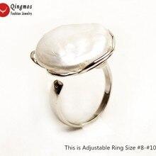 Qingmos белые кольца из натурального жемчуга для женщин с 20 мм монеткой круглый жемчуг Серебряная пластина металлическое кольцо Ювелирное Украшение регулируемое кольцо#8-10 r46