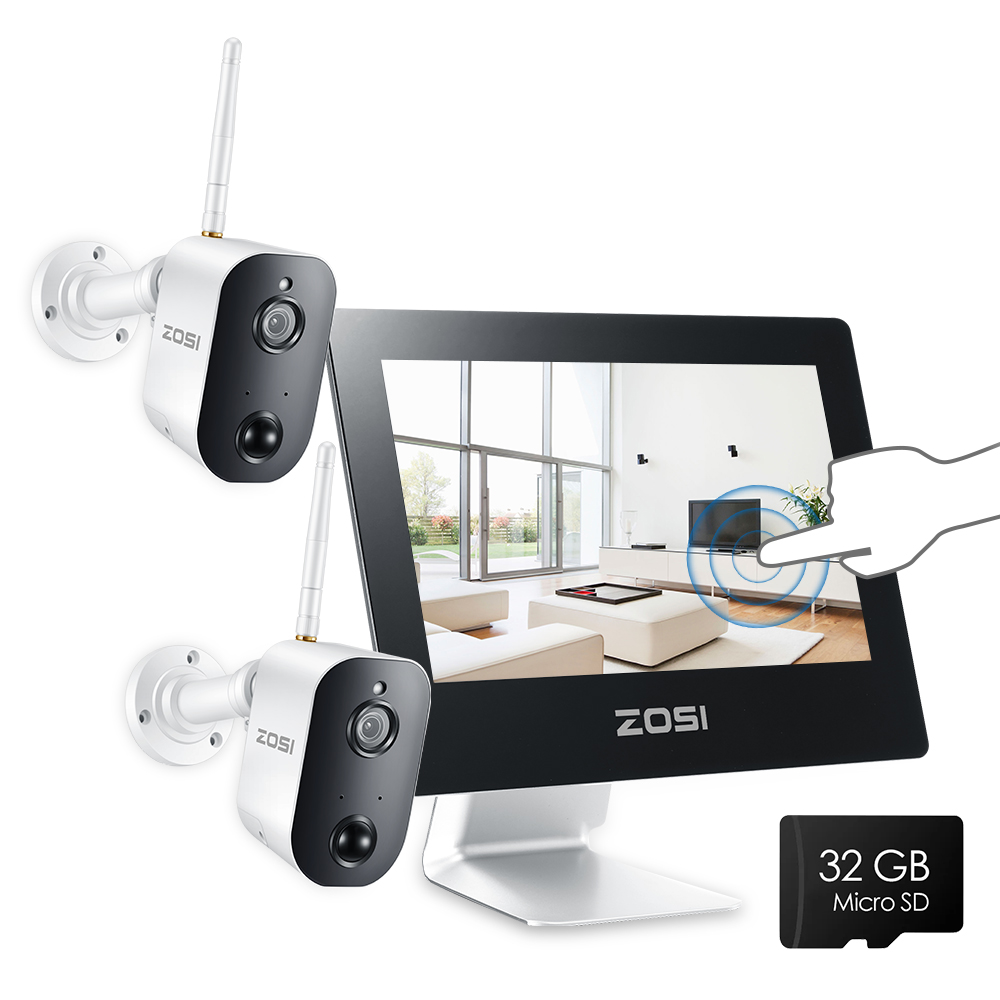 "ZOSI 1080p HD Wireless Security Camera System 9"" LCD 2.0MP Battery Operated Wire Free Two-way Audio Surveillance Cameras Kit"