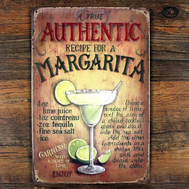 Margarita Cocktail wine Retro Bar Painting Metal decor Vintage ...