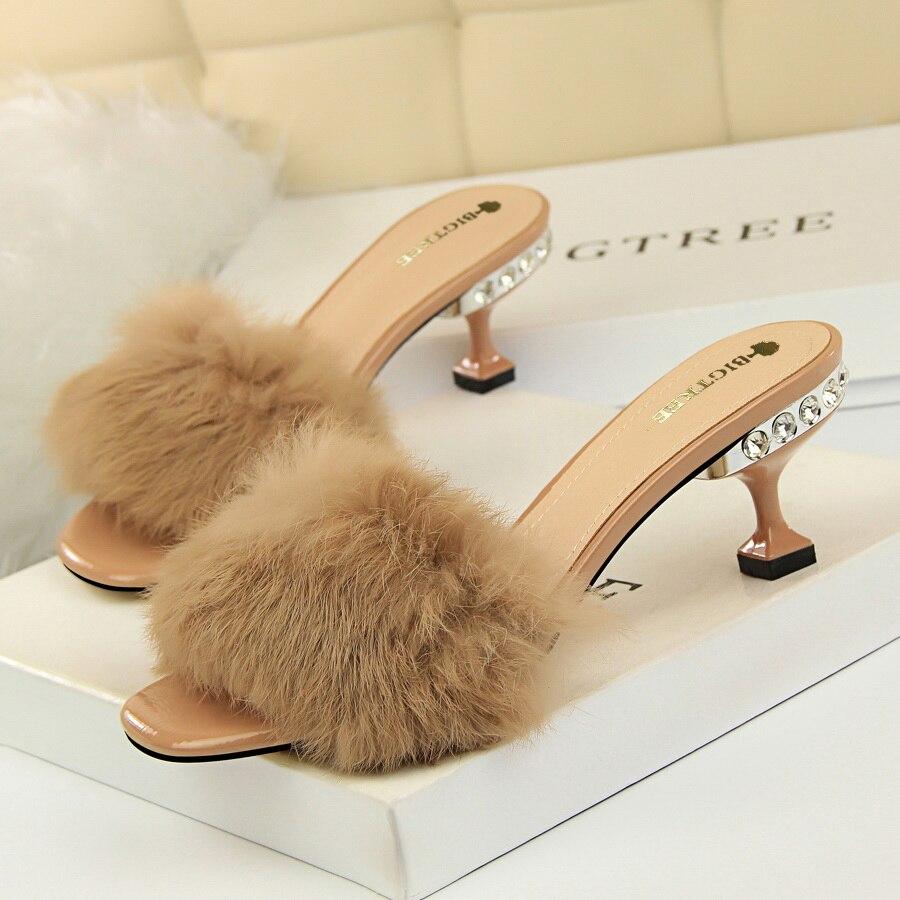 Sexy Women Sandals Pumps Summer Rhinestone Fur High Heel White Black Gray Women Wedding Pumps Shoes