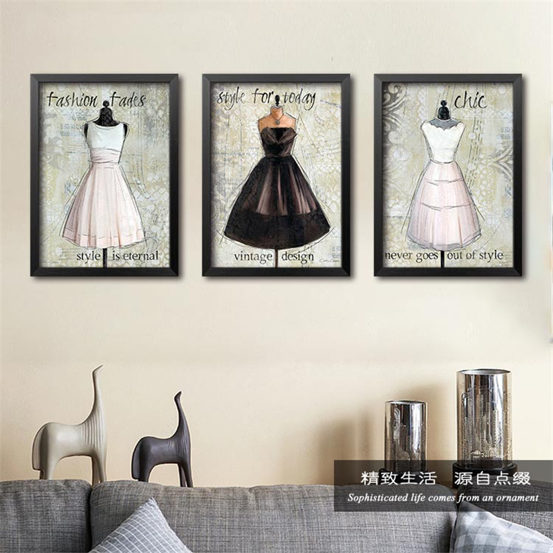 10pcs Lot Modern Fashion Women Skirt Pictures Canvas Decorative Painting Wall For Clothing Store